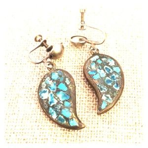 Old pawn turquoise chip screw back earrings 1940s